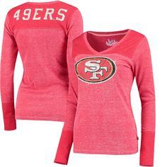 eff87d67 San Francisco 49ers Touch by Alyssa Milano Women's Goal Line Long Sleeve V-Neck  T-Shirt - Scarlet