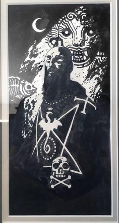 Hellboy lunchbox original art featuring Rasputin circa 1999 by Mike Mignola Comic Art