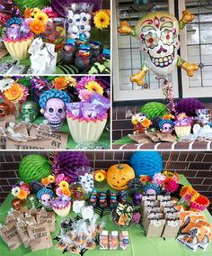 love the day of the dead twist to this halloween table - Day Of The Dead Halloween Decorations
