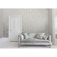 I Love Wallpaper™ Shimmer Metallic Grande Damask Wallpaper Soft Grey / Silver (ILW261539) - Wallpaper from I love wallpaper UK