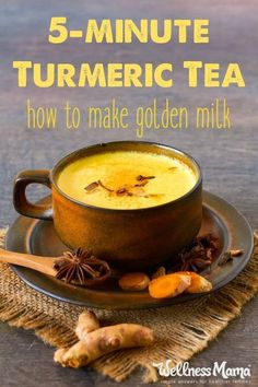 Turmeric tea or golden milk is an amazing immune-boosting remedy that contains turmeric, cinnamon, ginger, and pepper in a milk/broth base. Turmeric tea or golden milk i Turmeric Tea Benefits, Turmeric Detox, Turmeric Drink, Turmeric Recipes, Health Benefits, Health Tips, Tumeric Milk Recipe, Turmeric Smoothie, Ginger Tumeric Tea