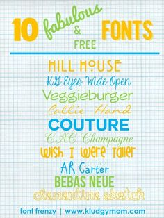 cool fonts http://www.kludgymom.com/cool-fonts/