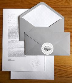 Mark Zuckerberg @ Facebook uses this stationary to write to fans - muted tone of gray and hand embossed seal, clear foil stamp on the back of the letterhead and inside of the envelope