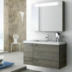 Buy the Nameeks ACF Oak Grey Oak Direct. Shop for the Nameeks ACF Oak Grey Oak ACF Wall Mounted / Floating Vanity Set with Wood Cabinet, Ceramic Top with 1 Sink and 1 Mirror and save. Lowes Bathroom Vanity, Bathroom Furniture, Bathroom Cabinets, Oak Bathroom, Bathroom Hacks, Bathroom Storage, Modern Bathroom, Small Bathroom, Single Sink Bathroom Vanity