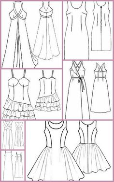 Dresses , free patterns to print Dress Sewing Patterns, Sewing Patterns Free, Clothing Patterns, Free Pattern, Croquis Fashion, Sewing Alterations, How To Make Clothes, Fashion Painting, Love Sewing