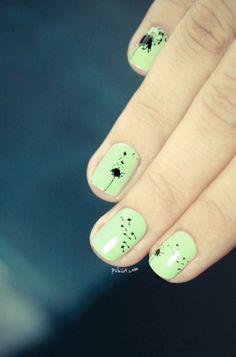 nail arts vert et noir