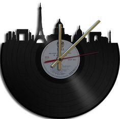 Paris Theme Vinyl Record Clock by Vinyl Clock Art - eclectic - clocks - - by Etsy
