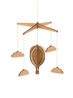 Wooden Hot Air Balloon Nursery Baby Mobile - Tasmanian Oak