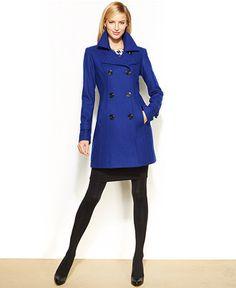Anne Klein Petite Wool-Blend Double-Breasted Pea Coat - Coats - Women - Macy's