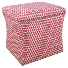 Check out this item at One Kings Lane! Merritt Storage Ottoman, Pink Dot