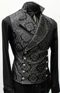 Cavalier vest black edwardian brocade shrine of hollywood Gothic Fashion, High Fashion, Mens Fashion, Fashion Vintage, Steampunk Fashion, Maskerade Outfit, Mode Outfits, Fashion Outfits, Casual Mode
