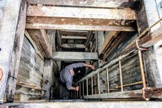 near using ladders to climb down a deep shaft. Daylesford, Ladders, Climbing, Exploring, Fields, Deep, Stairs, Staircases, Ladder