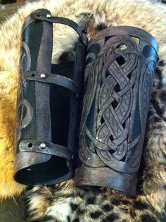 Leather gauntlets Viking Flok FULL LENGTH celtic dragon by 12Reign