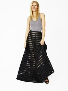 For a night in with guests, a long skirt manages to look dressed-up while still conveying a relaxed feel. #goopget