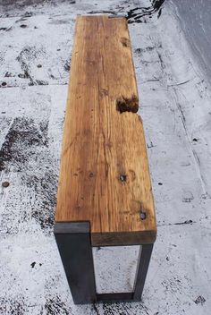 Reclaimed Wood and Steel Bench by JAHdesign