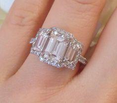 █ GIA 2.15 ct Center Emerald cut Three-stone Diamond Engagement Ring █ HM1390