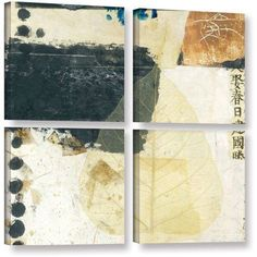ArtWall Elena Ray Wabi-Sabi Bodhi Leaf Collage 2 inch 4-Piece Gallery-wrapped Canvas Square Set, Size: 48 x 48, White