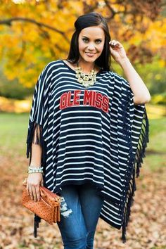 """Ole Miss Rebels """"Stunning in Stripes"""" Fringe Poncho - Gameday Couture"""