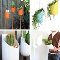 container gardening  looks like recycled soda and bleach bottles on dowels~ ~ i love the symmetry of this planter.  When i saw this pin being sold for $$$$$ i immediately noticed it could be made from recycled material!  Its crazy how much money they r selling for!  Just make yourself~