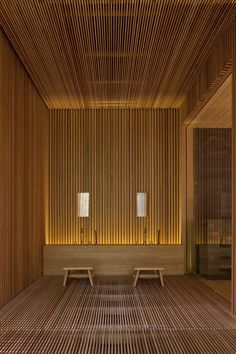 """Garden spa & gym (2011) for a by Design Spirits Co. Ltd. Even while in contrast with natural curve of the garden, the artificial form of a straight line, to plan the sentiments by saying that you want to use for building a natural material, people will """"settle down""""."""