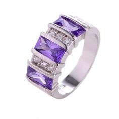 womens purple cubic zirconia w/clear accents size 7 ring 925 sterling silver #Unbranded #Band #Any