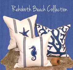 """Handmade in the USA, Coastal Home Pillows offers a variety of quality decorative coastal throw & beach themed pillows not carried by """"big chain"""" websites! Coastal Cottage Decorating, Pillows, Beach Collection, Cottage Decor, Coastal Beach Decor, Beach Themes, Tile Remodel, Beach Theme Pillows, Coastal Pillows"""