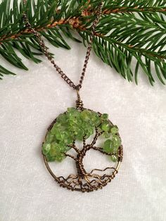 Tree Of Life Necklace Peridot Pendant Brown by Just4FunDesign
