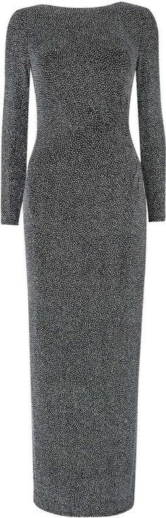 Silver Sparkle Long Sleeve Dress. Model wears size 10 and is 5'9 This stunning silver maxi dress with long sleeves and ruche side detail is a really dress to impress outfit. Wear with sparkle shoes and a clutch bag to complete this fabulous look. Length 145cm Fitted Sparkle print Maxi Dress Long Sleeve Round Neck #Wallis #Black #Dresses #Women #fashion #obsessory #fashion #lifestyle #style #myobsession #womensfashion #sale #giftideas #partywear