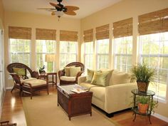 Classic Bamboo Roman Shades : Shade a bright sunroom with floor-length bamboo shades Sunroom Decorating, Sunroom Ideas, Patio Ideas, Porch Ideas, Florida Decorating Ideas, Small Sunroom, Small Patio, Bamboo Roman Shades, Four Seasons Room