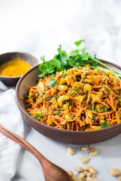 Vegan Salads: Bombay Carrot Salad with cashews and raisins, tossed in a fragrant Indian Curry dressing. Healthy and vegan this carrot salad recipe is so EASY to make, and can be made-ahead. PLUS 15 MAKE-AHEAD VEGAN SALADS! Indian Food Recipes, Whole Food Recipes, Vegetarian Recipes, Healthy Recipes, Easy Recipes, Carrot Salad Recipes, Slaw Recipes, Rice Recipes, Make Ahead Salads