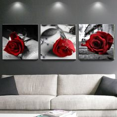 Grey And Red Living Room, Red Living Room Decor, Red Bedroom Decor, Bedroom Decor For Couples, Red Bedroom Design, Gray Bedroom Walls, Dream Bedroom, Living Rooms, 3 Panel Wall Art