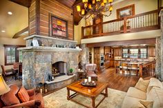 love the double sided fireplace and the spacious layout. #cabin