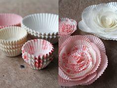 DIY Baking Cup Flowers via giochi di carta silvia raga Paper Flowers Diy, Handmade Flowers, Flower Crafts, Diy Paper, Paper Crafts, Flower Diy, Cute Crafts, Creative Crafts, Crafts For Kids