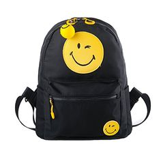 YOURNELO Womans Cute Smile Emoji Print Waterproof Nylon College Travel Backpack Bookbag Emoji2 * Learn more by visiting the image link.