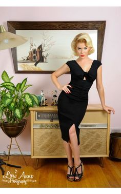 Niagara Dress in Black Stretch Bengaline - 1950s Inspired - Collections   Pinup Girl Clothing