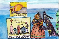 Water color post card Rubbermoon Pumpkin girl with cat