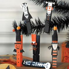Halloween clothespins to use on glassine bags