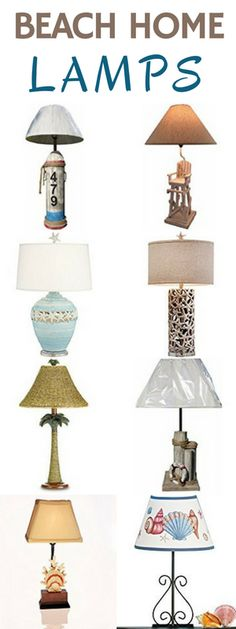 Check out some beautiful beach home lamps that will go perfectly to lighten and brighten up your home.  You can find a variety of lamps that include seashells, buoys, lifeguard chairs, starfish, palm trees, coral, and more.