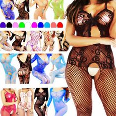 Daisland Nightwear Lingerie Women New Bodystocking Fishnet Bodysuit Body Stocking Chemise Stockings Floral One Size: Plus 1 Stocking. Underwear And G-string Excluded