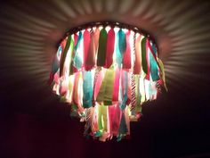 Ribbon Chandelier Ribbon Art, Diy Ribbon, Ribbon Crafts, Crafts For Kids, Arts And Crafts, Diy Crafts, Children Crafts, Mexican Dinner Party, Ribbon Chandelier