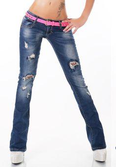 Dámské jeans s páskem