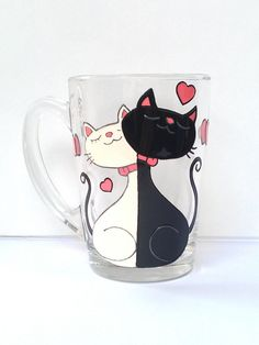 Cat mug Couples gift Love mug Funny mug by PaintedglassbySveti