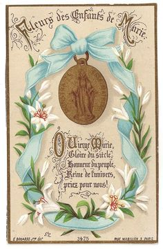 Miraculous Medal with Blue Ribbon and Lily Flowers Antique Catholic Art, Religious Art, Vintage Holy Cards, Prayer For Protection, Beautiful Prayers, Holy Mary, Blessed Virgin Mary, Prayer Cards, Power Of Prayer