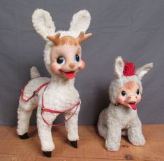 Vintage Pair Rushton Toy Rubber Face Stuffed Animal plush Dolls Reindeer&Donkey