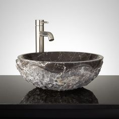 Buy the Signature Hardware 334978 Dark Emperador Direct. Shop for the Signature Hardware 334978 Dark Emperador Round Chiseled Marble Vessel Sink and save. Vessel Sink Vanity, Glass Vessel Sinks, Bowl Sink, Gold Bathroom, Bathroom Sinks, Bathroom Ideas, Basement Bathroom, Bathroom Wall, Small Bathroom