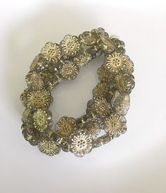 NEW Smokey Gray Flower Czech Glass Beads Gray Gold Picasso Flower Beads Czech Beads Czech Flower Beads 18mm (2 pcs) 8V1