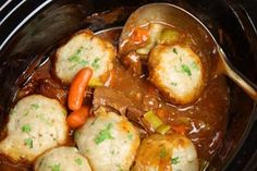 Beef casserole with dumplings in slow cooker recipe Slow Cooker Beef, Slow Cooker Recipes, Beef Recipes, Cooking Recipes, Slow Cooking, Cooking Corn, Healthy Recipes, Slow Food, Delicious Recipes