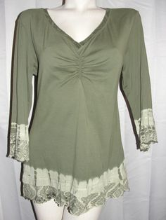 Glima Top Women's Size Large Green 100% Cotton Tie-dye 3/4 Sleeve V-neck Shirt #Gilma #KnitTop #Casual