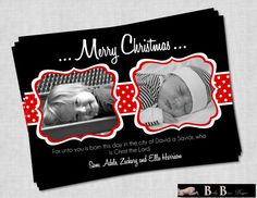 2 Photo/Picture Christian Christmas Card Black by BabyBunsDesigns, $10.50