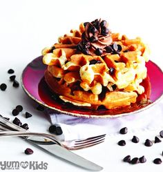 Cookie Dough Waffles with Chocolate Whipped Cream
